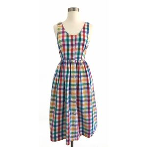 Vintage Rainbow Oversized Gingham Button Dress